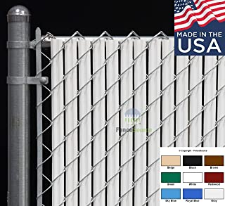 Fence Source Wave Slat™ (9 Colors) Single Wall Bottom Locking Privacy Slat for 4', 5', 6', 7' and 8' Chain Link Fence (4 ft, White)