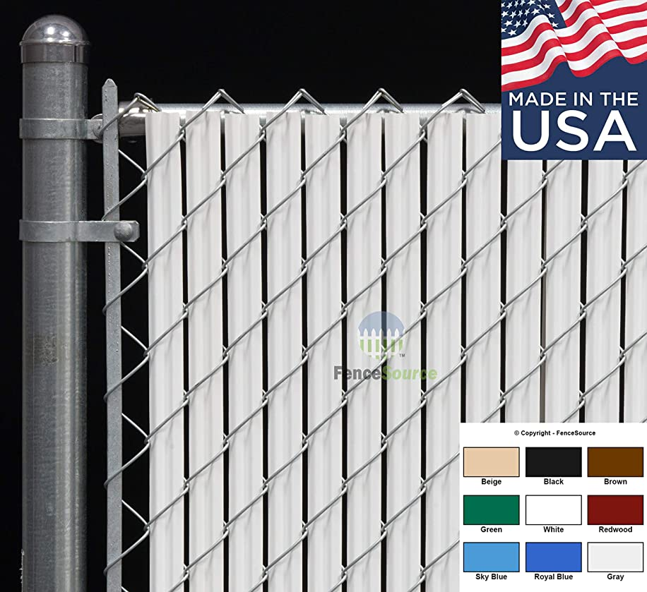 Fence Source Wave Slat? (9 Colors) Single Wall Bottom Locking Privacy Slat for 4', 5', 6', 7' and 8' Chain Link Fence (6 ft, White)