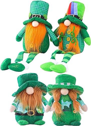 lowest Gnome Ornaments St.Patrick's sale Day Gnome Ornaments Irish Gnomes Decoration Tomte Handmade Irish Leprechaun Nisse for Irish Saint lowest Paddy's Day Gift Home Decor Tabletop Santa Figurines Set of 4 online sale