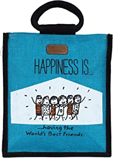 ECOTARA 100% Eco-Friendly Happiness Jute Lunch/Tiffin Bag