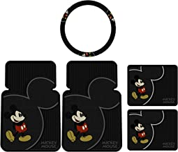 U.A.A. INC. 5pcs Mickey Mouse Vintage Front Rear Rubber Floor Mats Steering Wheel Cover Set