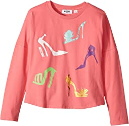 Moschino Kids - Long Sleeve High Heels Graphic T-Shirt (Big Kids)