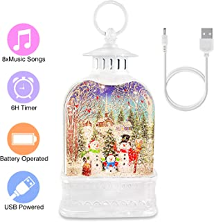 Christmas Snow Globe, Lantern Musical Water Lantern Decorative Glitter Snowman Lantern for Kids' Gift, Christmas Collectibles, Home Decoration, USB & Battery Operated, 8 Music Loop, Auto On/Off, White