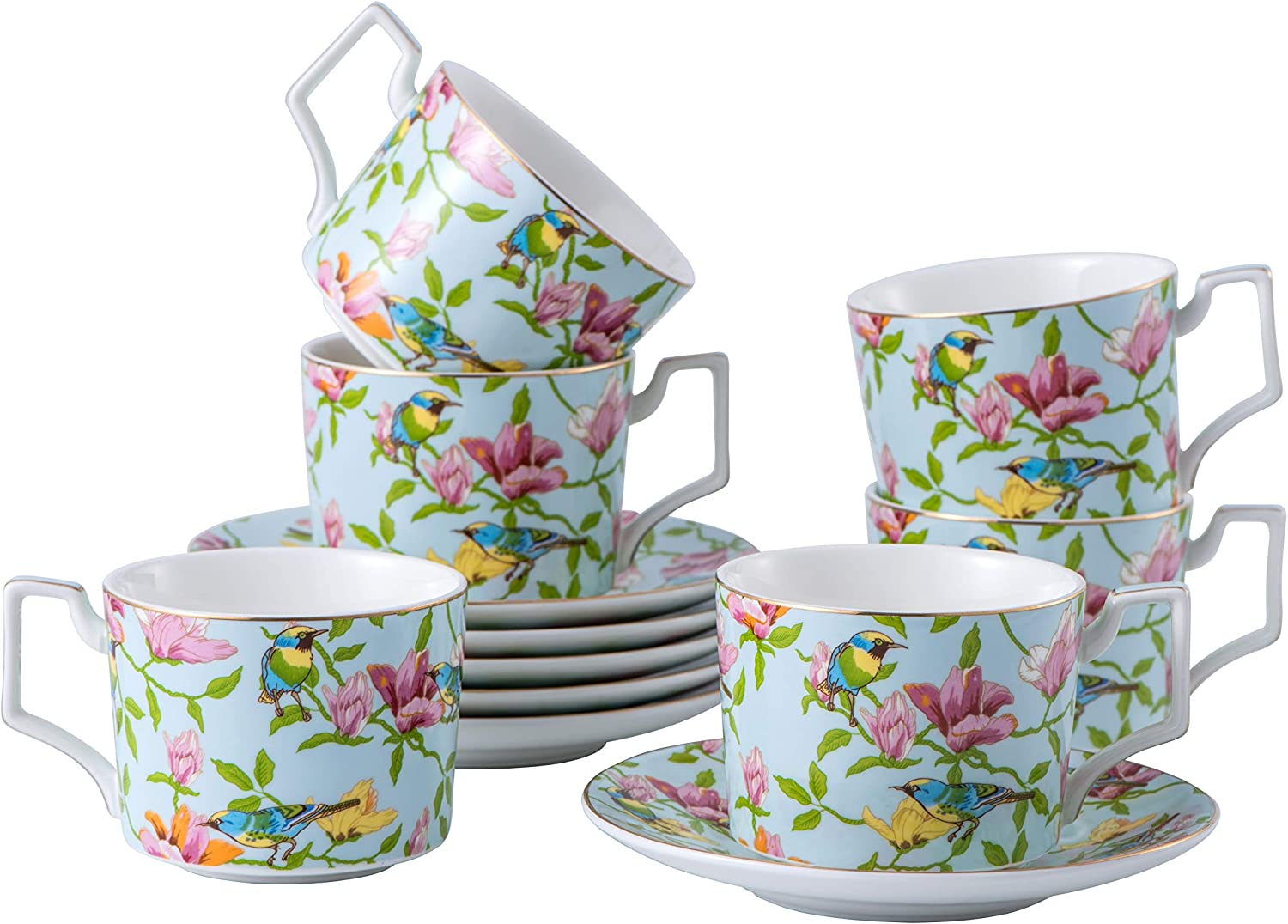 Low price Set of 6 8.5 oz Tea At the price Cups British Flor Saucers and