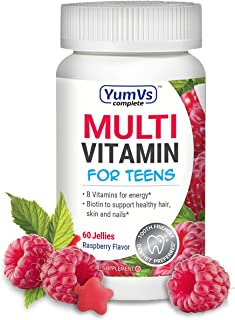 YUM-V's Complete Multivitamin and Multimineral Jellies (Gummies) for Teens w/ Extra Biotin, Berry Flavor (60 Ct); Chewable...