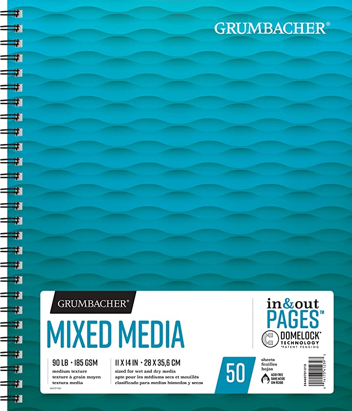 Grumbacher Mixed Media Paper Pad with In & Out Pages, 90 lb. / 185 GSM, 11 x 14 inches, Side Wired, 50 White Sheets/Pad, 1 Each, 26460701313