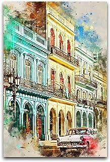 Lesign Aquarelle Lieux Cuba dans une affiche d'aquarelle Peinture Décorative Toile Art mural Salon Posters Chambre à couch...