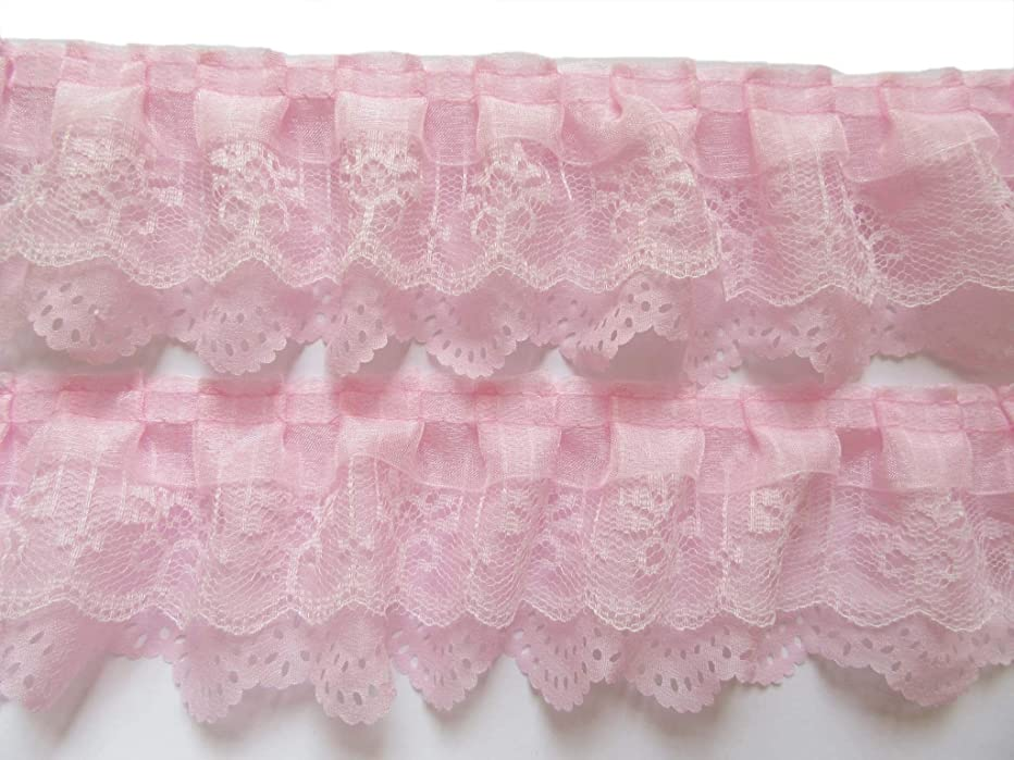 YYCRAFT Pack of 15y 3-Layer Pleated Organza Lace Edge Trim for Cloth Sewing DIY Craft Supply (Baby Pink)