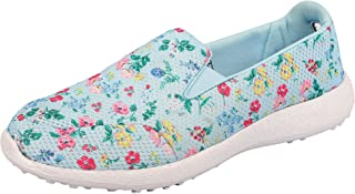 KazarMax Women's Blue Floral Casual Sneakers
