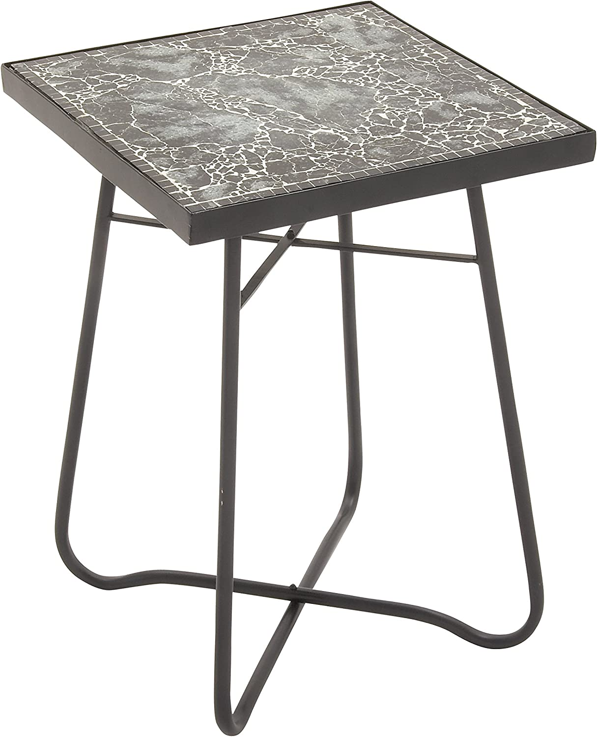 Benzara 45629 Metal Glass Square Accent Table, 16  x 23 , Black