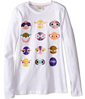 Fendi Kids - Long Sleeve T-Shirt w/ Monster Faces Graphic (Big Kids)