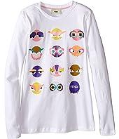 Fendi Kids - Long Sleeve T-Shirt w/ Monster Faces Graphic (Big Kids)