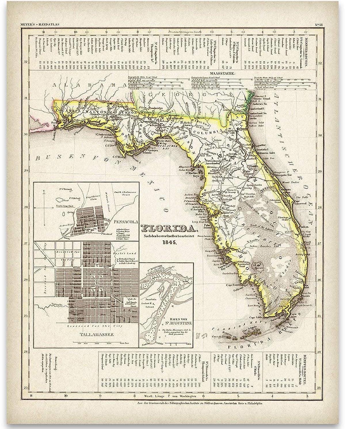 1845 Map of Florida Art Print - 11x14 Unframed Art Print - Great Vintage Home Decor Under $15