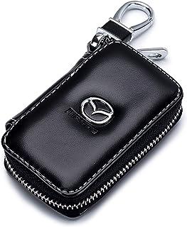 QZS Black Leather Car Key Case Coin Holder Zipper Remote Wallet Key Chain Bag