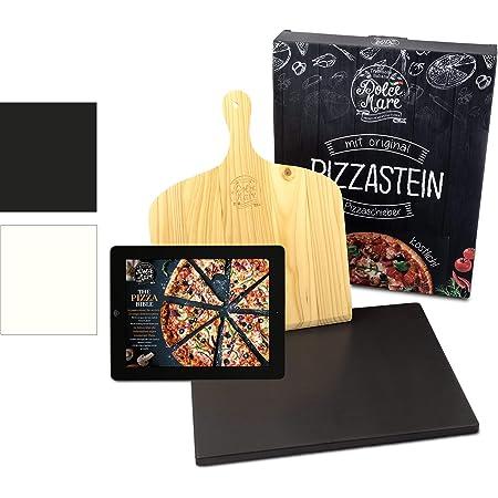 Dolce Mare® Pizza Stone - Pierre à Pizza en cordiérite de Haute qualité pour Le Four et Le Gril - Brique pour Pizza croustillante comme avec l'italien - Glissière à Pizza