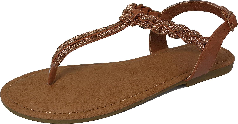 Cambridge Select Women's Open Toe T-Strap Thong Braided Strappy Crystal Rhinestone Slingback Flat Sandal