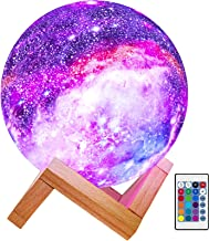 BRIGHTWORLD Moon Lamp Kids Night Light Galaxy Lamp 5.9 inch 16 Colors LED 3D Star Moon Light with Wood Stand, Remote & Tou...