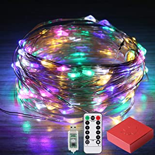 Areskey Colorful Fairy Lights, 33ft 100 LED Rainbow String Lights, Multicolored Christmas Lights for Indoor Outdoor, Bedroom, Garden, USB 8 Modes Remote Control, Waterproof Starry Lights Decoration
