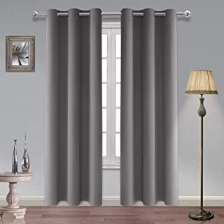 """Homedocr Thermal Insulated Blackout Curtains, Polyester & Polyester Blend, Light Grey, Grommet