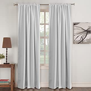 Turquoize White Curtain Panels - Room Darkening Light Block Window Curtains Back Tab Slot Top Home Decoration Draperies Rod Pocket Curtains for Bedroom/Living Room, Greyish White, 52 by 96 inch