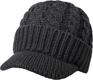Loritta Womens Winter Warm Knitted Hat with Visor Slouchy Wool Beanie Hat Cap Scarf Set