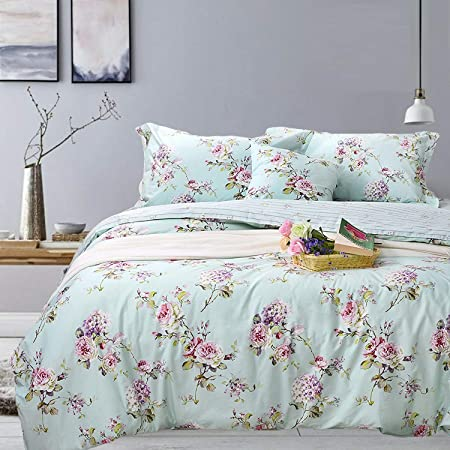Fadfay Home Textile Pink Rose Floral Print Duvet Cover Bedding Set For Girls 4 Pieces Queen Size Home Kitchen