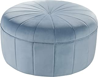Meridian Furniture Tao Collection Modern | Contemporary Sky Blue Velvet Upholstered Ottoman/Bench with Channel Tufted Design, Solid Wood Frame, 35