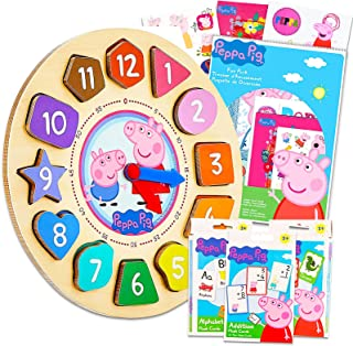 Peppa Pig Clock Puzzle Shape Sorting Game for Toddlers, Kids ~ 5 Pc Learning Toy Bundle with Peppa Wooden Clock, 3 Flash C...