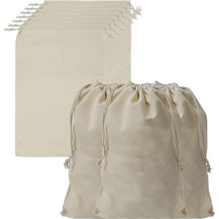 BELLE VOUS Sacchetti Cotone Mussola con Coulisse (Set da 10 Sacchetti Juta) - Sacchetti Iuta Bomboniere da 30 x 20 cm - Sacchetti Tessuto Vegetale Riutilizzabili, Biodegradabile ed Ecologici