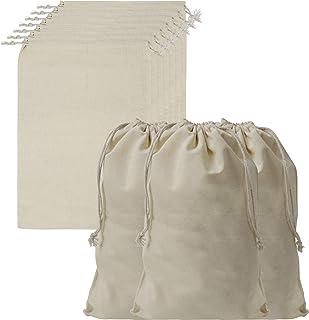 Belle Vous Bolsa Tela Algodón Muselina para Guardar Productos con Cordel (Pack de 10) 30 cm de Largo x 20 cm de Ancho - Bo...