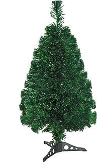 comprar comparacion HOMCOM Árbol de Navidad 90cm Artificial Árbol con Soporte Fibra Óptica 4 Colores Verde Natural Material PVC