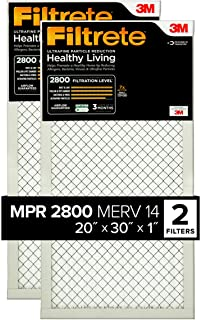 Filtrete MPR 2800 20x30x1 AC Furnace Air Filter, Healthy Living Ultrafine Particle Reduction, 2-Pack