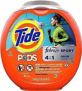 Tide PODS 4 in 1, Plus Febreze, Laundry Detergent Liquid Pacs, Sport Odor Defense, Active Fresh Scent, 61 Count - Packagin...