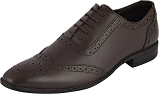 Auserio Men's Brown Genuine Leather Brogue Shoes