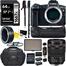 Canon EOS R Mirrorless Full Frame Digital Camera w/RF 24-105mm USM Kit, Battery Grip, Lens Mount Converter, LED Video Light, Tripod, and Accessory Bundle