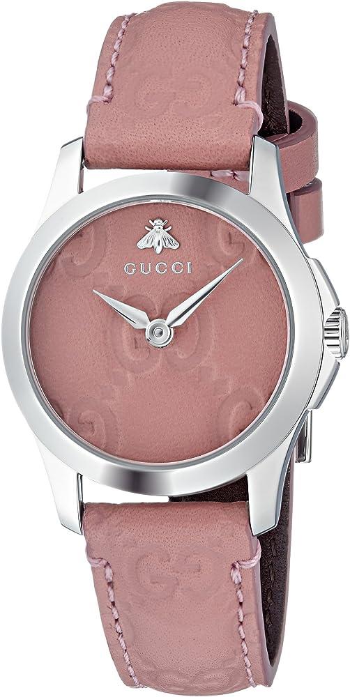 Gucci, orologio per donna,cassa in acciaio inossidabile e cinturino in vera pelle YA126578