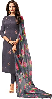 Rajnandini Women's Grey Chanderi Silk Embroidered Semi-Stitched Salwar Suit Material With Printed Dupatta (Free Size)