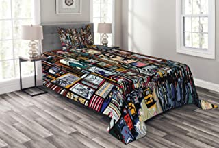 Lunarable New York Bedspread, Sketched Pop Art Style The Fifth Avenue Vibrant Lifestyle and Colorful Billboards, Decorative Quilted 2 Piece Coverlet Set with Pillow Sham, Twin Size, Multicolor