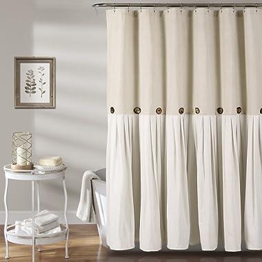 Lush Decor Button Shower Curtain, 72  X 72 , Linen