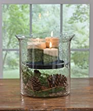Park Designs Hammered Cylinder 12.5 Inches Height x 12.5 Inches Diameter Iron and Glass Candle Pan