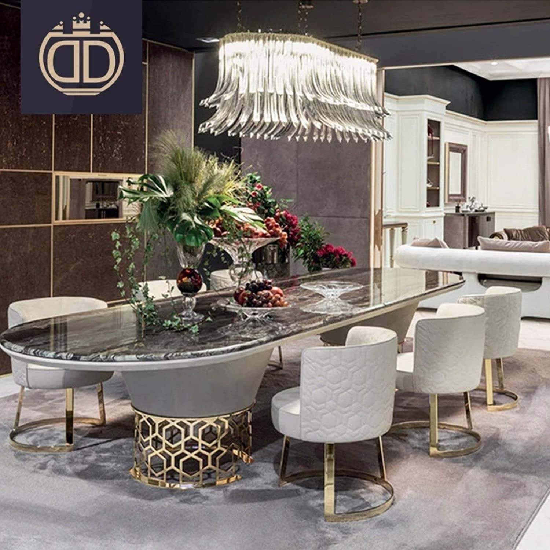 Amazon.com My Aashis Italian Modern Oval Dining Table Set Luxury ...