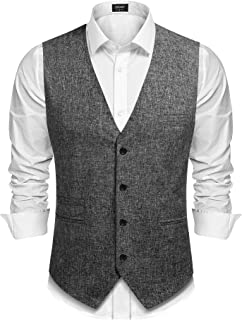 COOFANDY Men's Casual Business Vests Lightweight Waistcoat Slim Fit Suit Vest