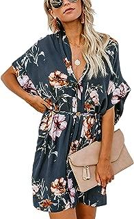 Rainlin Women Casual V Neck Dress Batwing Short Sleeve T Shirt Dress Boho Floral Kimono Dress with Belt