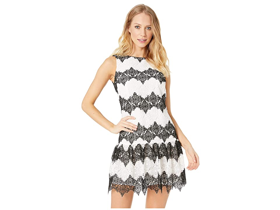 Betsey Johnson Fit and Flare Lace Dress (Black/White) Women