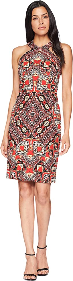 Maggy London Global Puzzle Novelty Linen Halter Sheath