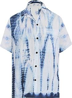 LA LEELA Men's Relaxed Funny Hawaiian Shirt Beach Button Down Up Hand Tie Dye