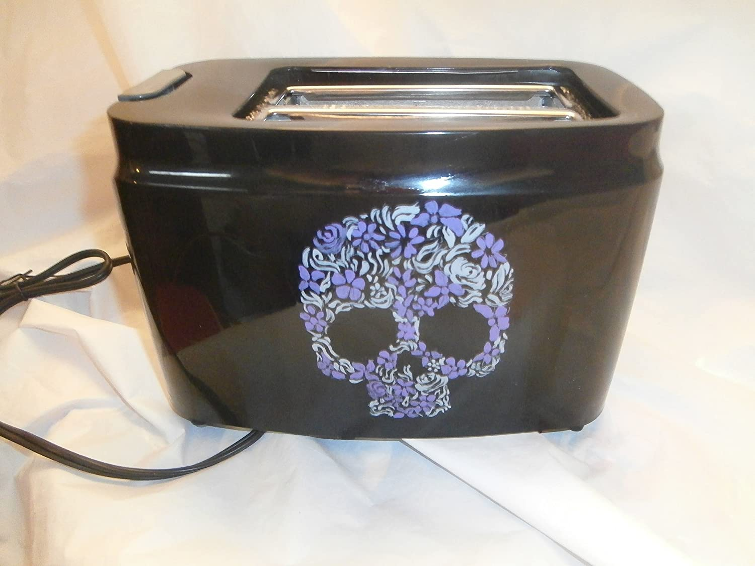 Hand painted black toaster. In fun and skul New color outlet sugar in gray purple