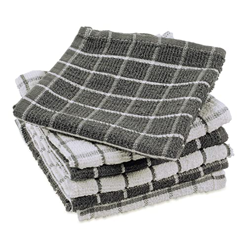 DII Basic Terry Collection Windowpane Dishcloth Set, 12x12, Gray 6 Piece