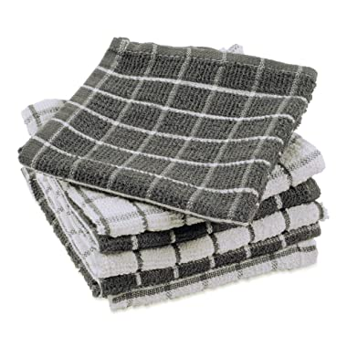 DII Terry Combo Windowpane Dishcloths Absorbant, Multi-Use, Fast Drying and Machine Washable, 12x12 , Gray 6 Piece