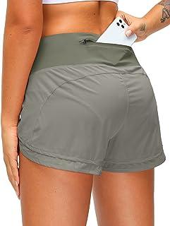 Women's Running Shorts with Zipper Pocket 3 Inch...
